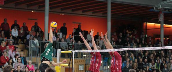 Volleyball 2011-12 DVL 12 Generali Haching - Netzhoppers KW-Bestensee. Foto: Generali Haching.